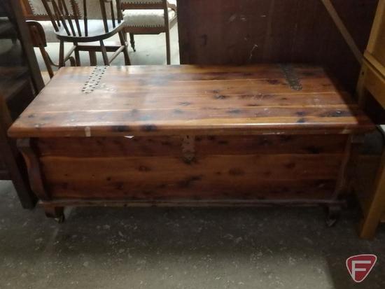 Wood cedar chest on wheels, 20inHx48inWx21inD