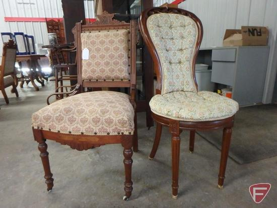 (2) vintage wood chairs with upholstered seats and back, square chair wheels on front with some wear