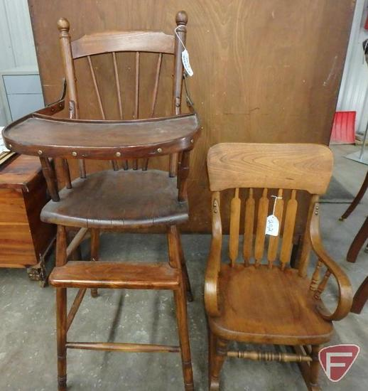 Wood high chair and child's wood rocking chair. 2 pieces