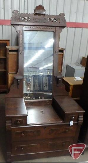 Vintage wood dresser/vanity, 4 drawers, with mirror, wheels are in drawer, base is 30inHx40inWx17inD