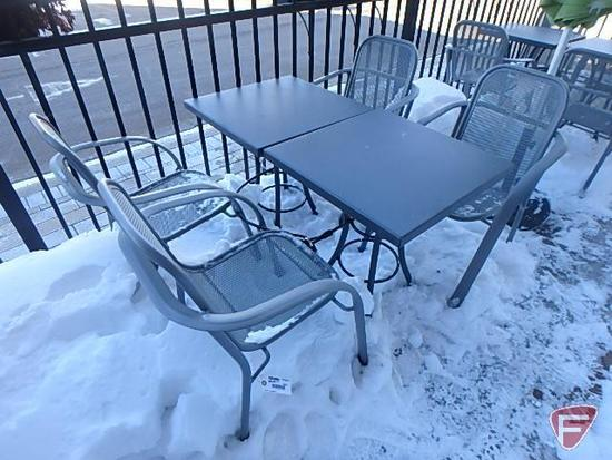 """(2) 24""""x24"""" patio dining tables and (4) metal patio dining chairs"""