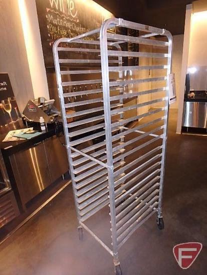 Advance Tapco aluminum knock down pan rack on casters, fits (20) full size sheet pans