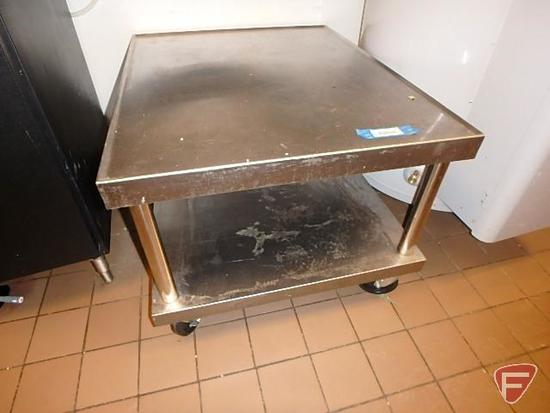 """Stainless steel 2 tier range table on casters, 37""""x30""""x24""""H"""
