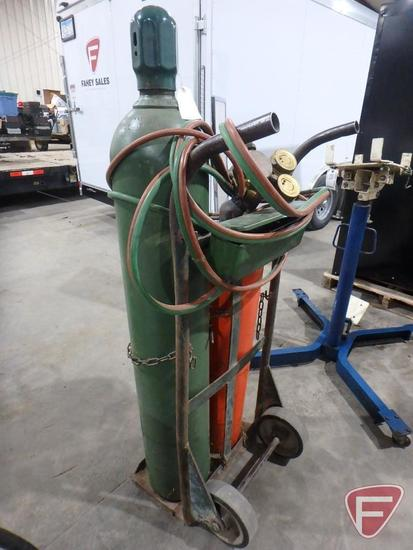 Torch kit: oxygen tank, acetylene tank, gauges, cart, and Victor torch