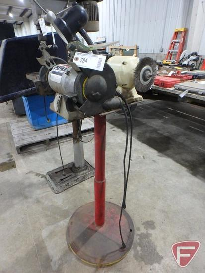 "JET 6"" bench grinder and Pro-Tech 6"" bench grinder on stand"