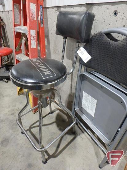Craftsman shop stool and (2) folding chairs