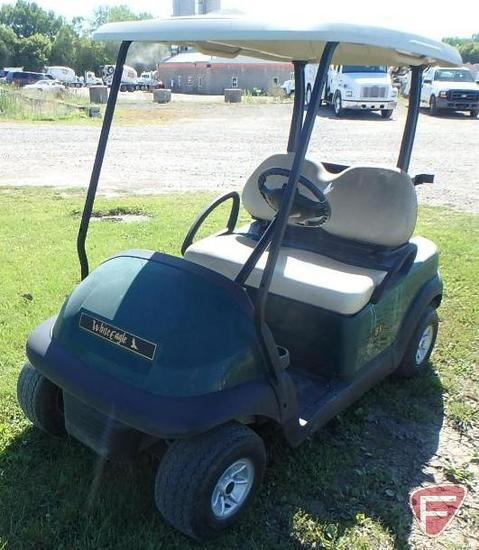 2014 Club Car Precedent green electric golf car with roof, ball washer