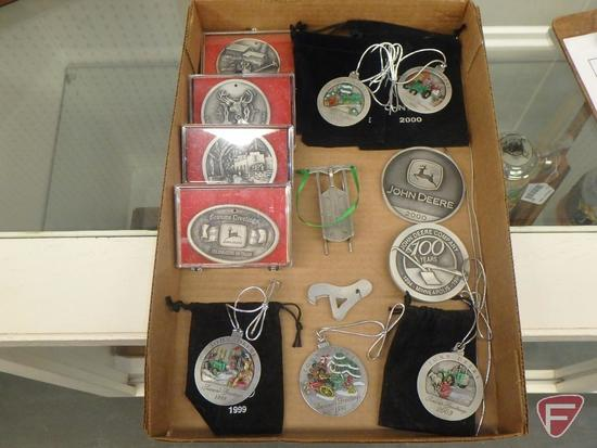 John Deere belt buckles-100 years, 2000, and holiday 1995, 1996, 1997, and 1998, and
