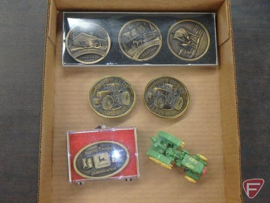 Brass John Deere belt buckles, Christmas set-1990,1991,1992; (2) Fly-in 92-93,