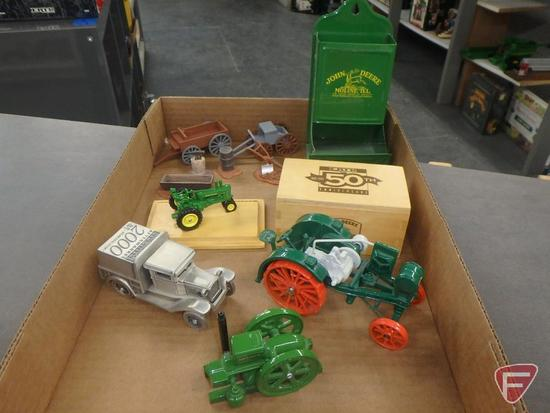Metal John Deere matchstick holder, Ertl 1990 Special Edition replica tractor,