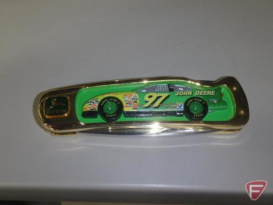 (2) replica John Deere stock cars in collector cases with driver autographs on placard, 1:18