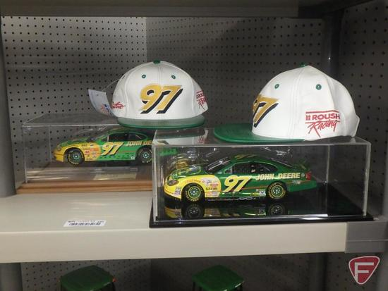 John Deere replica stock car in collector case with drivers autograph on placard and commemorative