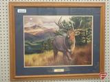 Framed and matted print by Dustin Van Wechel, Estes Elk, 26inHx32inW