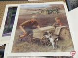 (4) Unframed John Deere prints,by WH HInton, 22inx18in, 3 are SN 0181 and 1 is SN 0180