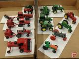 1:64 replicas, Case International 9930 combine, MF2775 tractor with International 2400 round baler,