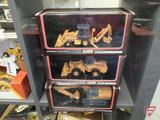 Ertl replicas, Case 590 Super Loader Backhoe, 9030B Excavator, and 621B Wheel Loader,