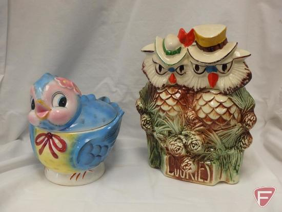 (2)Cookie Jars- Bluebird has some hairline cracks and McCoy Owls