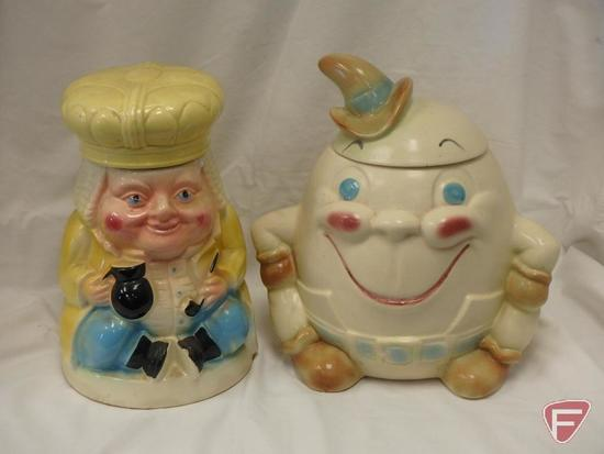 (2)Cookie Jars- Roseville Ole King Cole, Humpty Dumpty