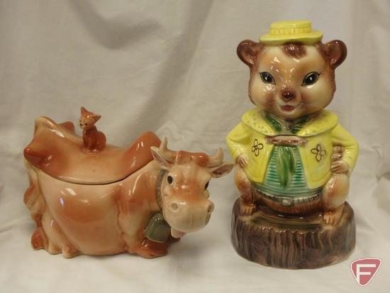 (2)Cookie Jars- Brush cow and Maddox squirrel