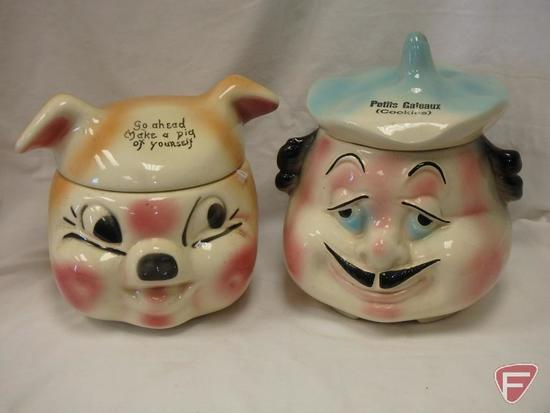 (2)Cookie Jars- pig and chef