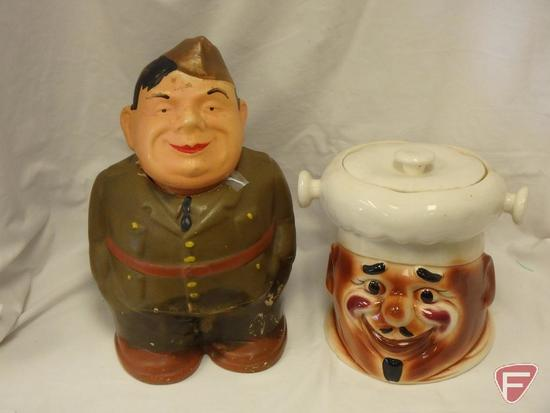 (2)Cookie Jars- Army man and Black Americana missing handle