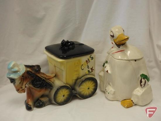 (2)Cookie Jars-Horse with milk and cookies and duck with some crazing and a crack