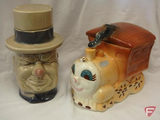 (2)Cookie Jars- W.C. Fields and California train engine