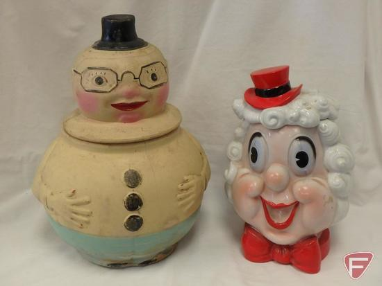 (2)Cookie Jars- Chalkware Preacher and Lady with curly hair