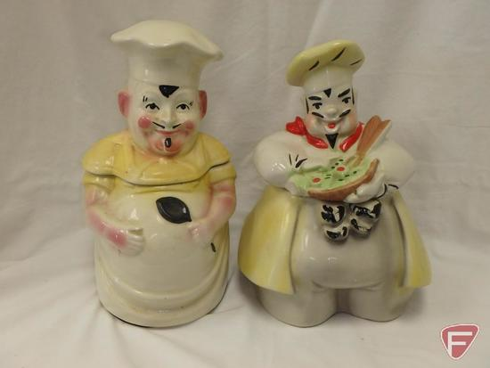 (2)Cookie Jars- Chefs, one has chip