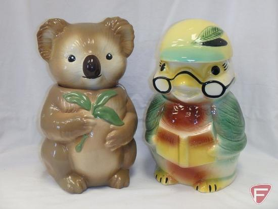 (2)Cookie Jars- Koala bear and bird with glasses
