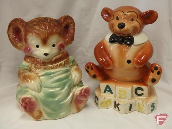 (2)Cookie Jars- USA bear and ABC bear
