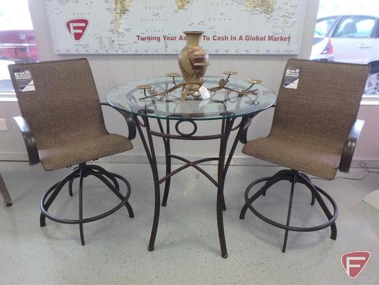 "Patio furniture: 36"" dia. 37""h glass top table, (2) Homecrest double layer sling chairs"