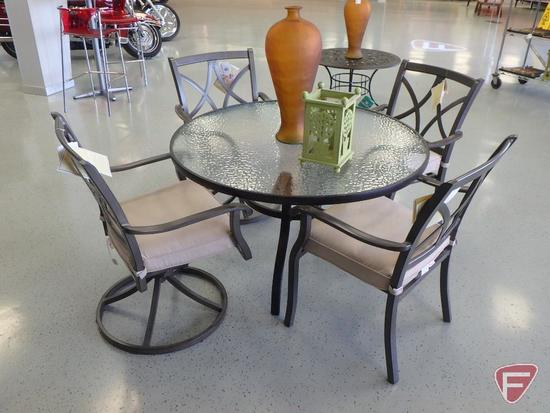"Patio furniture: 48"" dia. 28""h glass top table, (4) aluminum patio chairs, candle holder"