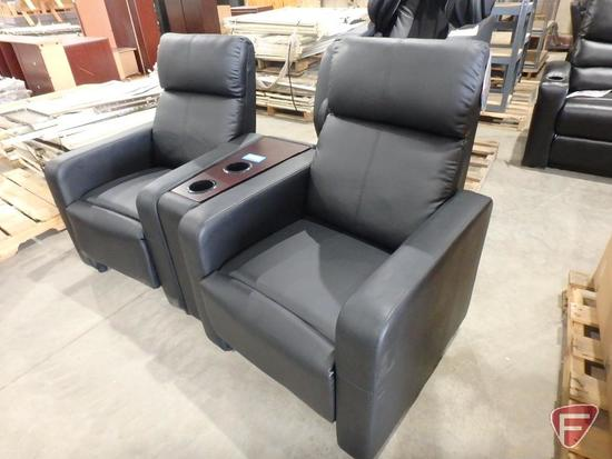 Coaster 3-pc motion reclining chairs with wedge cup holder