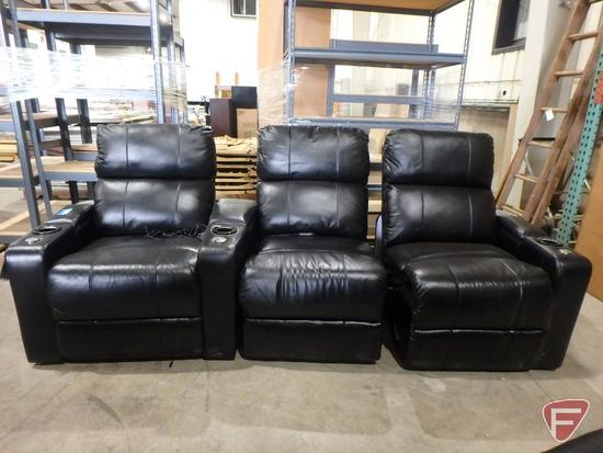 Venice 3pc manual reclining theater seating with speakers