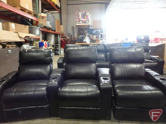 Venice 3pc manual reclining theater seating with storage in arms
