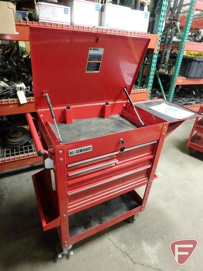 US General Pro 5 drawer industrial roller cart tool chest on casters, item # 61427, sn 373271615
