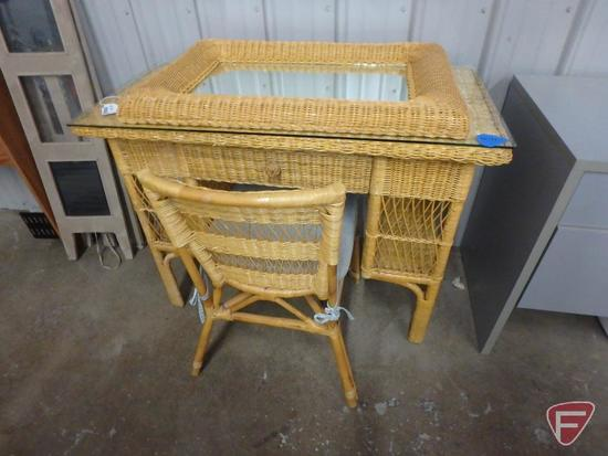 "Wicker like desk, chair , mirror desk is 30""h 40""w 20""d"