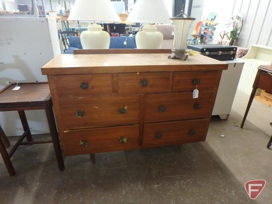 "Dresser, 35""h 50""w 19""d some damage, 7 drawer, table top"