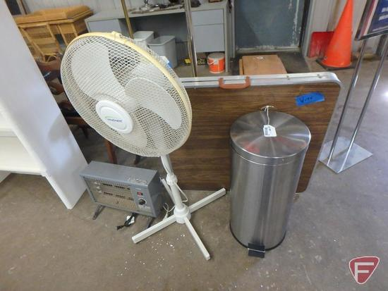 Folding table, waste basket, pedestal fan, electric heater