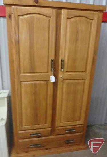 "Wood storage cabinet,, one drawer, key, 74""h 39""w 16""d"
