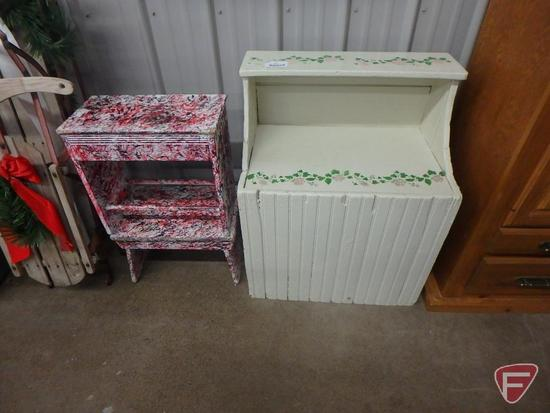 Wood shelf, two painted wood benches