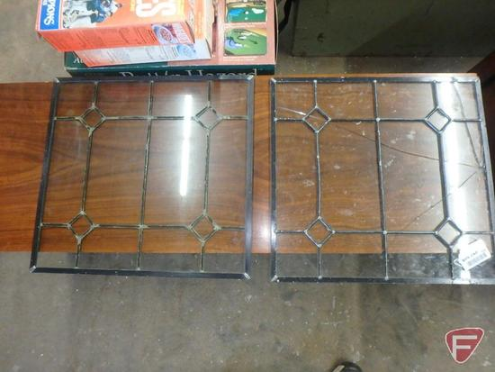 "2 pieces leaded glass, one is broken 18""w 19"""