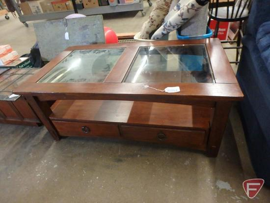 "Coffee table glass inserts, two drawers, 50""w 28""d"