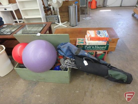 Wood box, Sports balls, golf clubs, putting green, volleyball set, Wheaties boxes