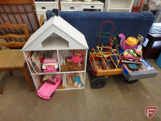 Toys, metal wagon, dollhouse with dolls, marble game, doll car, more