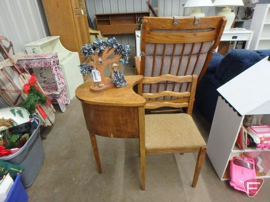 Telephone table with upholstered seat, veneer peeling , wood figurine
