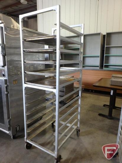 Bun/sheet pan rack on casters with (5) full size baking pans