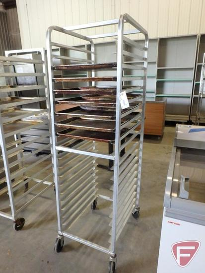 Bun/sheet pan rack on casters with (14) half size baking pans