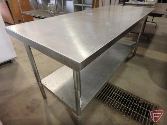 "Stainless steel table with galvanized undershelf, 30""x72""x34""H"